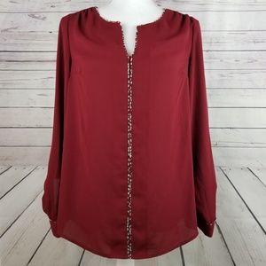 ModCloth semi sheer burgandy blouse